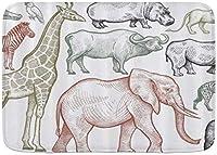 マイクロファイバー滑り止めバスマットアフリカの動物象キリンカバライノライオンゼブラオウムパーソナライズされた洗えるバスルームマットラグ50 * 80cm