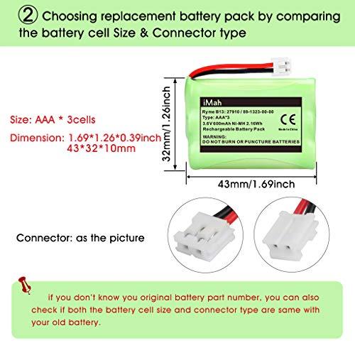 iMah 27910 Cordless Phone Battery Pack Compatible with AT&T 89-1323-00-0 Motorola SD-7501 Vtech 27910 I6725 RadioShack 23-959 Home Handset 3.6V Ni-MH, Pack of 2 Photo #8