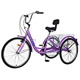 H&ZT (US in Stock) Adult Tricycle 24 inch Multiple Speeds Adult Trikes with Adjustable Handlebar and Seat Durabe Three-Wheeled Cruise Trike with Large Basket,Multiple Colors, Women Men (Dark-Purple)