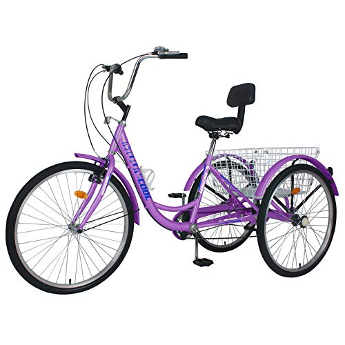 Adult Tricycles, 3 Wheel Bikes for Adults 20/24/26 inch 7 Speed Adult Trikes Bicycles Cruise Trike with Shopping Basket for Seniors, Women, Men (Light Purple, 24