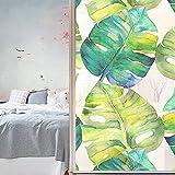 Jzdhlsc Película para Ventana Hojas De Plantas Verdes Autoadhesiva Vinilo Cristal Privacidad Ventana Anti UV Lámina para Electrostática 70x120cm