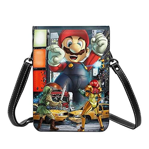 Juego de dibujos animados Super Mario Crossbody Bolsos ligeros pequeos pasaporte monedero de cuero cartera bolsa para mujeres viaje playa bolsa