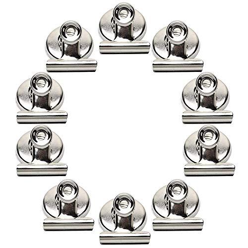 Magnet Clips, KANOSON 10 Stück Stark Kühlschrank Magnete Klammer Küche Magnetische Haken mit Kratzfestem Pad, Metall Magnetclips Bulldog Magnetischer Clip Hängend Foto Papier für Haus Büro Schule
