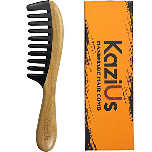KaziUS Wide Tooth Hair Comb [Gift Box] - 8.6 inch Wooden Horn Comb for Women and Men - Detangling Comb for Curly Thick Hair - Comb for Dry & Wet Hair.