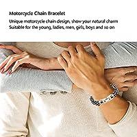 バイクリンクチェーンブレスレット、女性のための若者のためのステンレス鋼のオートバイチェーンブレスレット(Black Room Gold)