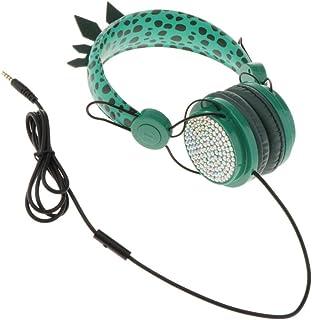 B Blesiya Dinosaurie barnhörlurar för pojkar, barn, tonåringar, 3,5 mm hörlurar med kabel och justerbart pannband, headset...