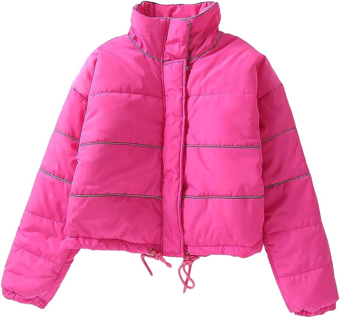 Omoone Women's Stand Collar Down Outwear Puffer Coats Zipper Reflective Cropped Jacket