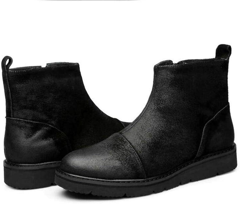 Men Low Top Martin Boots Chelsea Boots Round Toe Pure color Zipper Ankel Bootie Retro Tooling Boots Eu Size 38-43