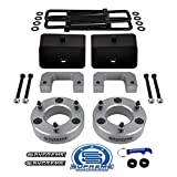 Supreme Suspensions - 3.5' Front + 3' Rear Lift Kit for 2007-2020 Chevrolet Silverado and GMC Sierra 1500 Upper & Bottom Strut Spacers + Rear Lift Blocks + Square Bend U-Bolts (Silver)