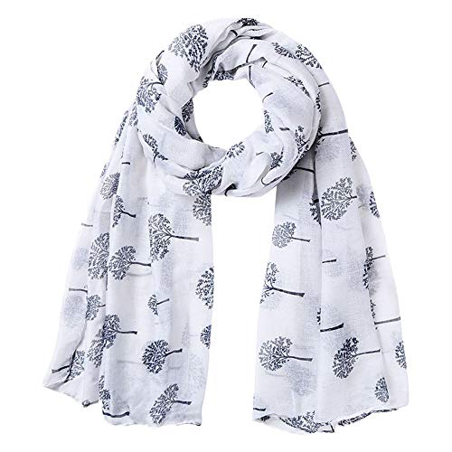 Briskorry Seiden-Tuch Damen Schal Halstuch Tuch aus Chiffon, Lucky Tree Dandelion Bedruckter Seidentuch Elegantes Halstuch Schulter-Tuch