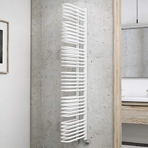 Schulte Bad-Heizkörper Raumteiler Porto, 160 cm, 1470 Watt, beidseitiger Anschluss unten, alpin-weiß, Design-Heizkörper für Zweirohr-Systeme mit Handtuchhalter-Funktion