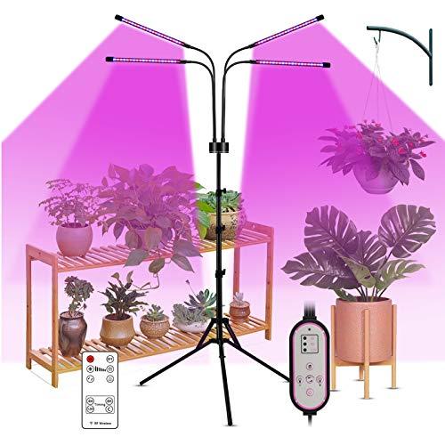 Decdeal LED Pflanzenlampe Vollspektrum 40W 80LEDs Pflanzenlicht Pflanzenleuchte Wachstumslampe mit Fernbedienung und Zeitschaltuhr, 3 Modus, 9 Helligkeit Inkl. Stativ