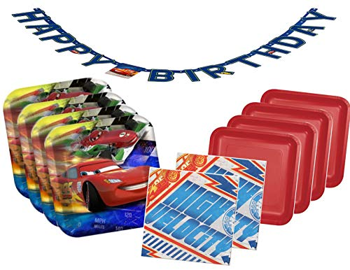 Disney Cars Lightning McQueen Plates and Napkins Party Supplies for 16 Guests - Bonus Birthday Banner