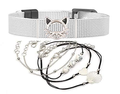 LUXERY Damen CHARMBAND Set Angebot aus Edelstahl - Mesh Charm Armband - gestalten Anhänger Charms austauschbar - Größen verstellbar - Damenarmband Schmuck Schwarz Pink
