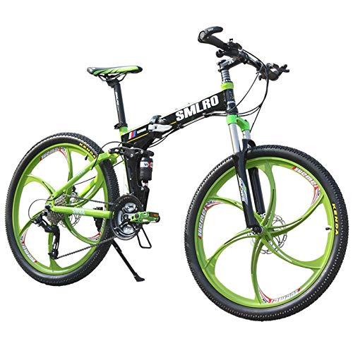 SYLTL 27 Velocidades Plegable Bicicleta de Montaña Unisex Adulto 26in Bicicleta Plegable Fuera de Carretera Absorción de Choque Folding Bike,Blackgreen