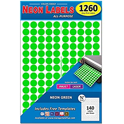 "Pack of 1260 3/4"" Round Color Coding Circle Dot Labels, 8 1/2"" x 11"" Sheet, Fits Any Printer"