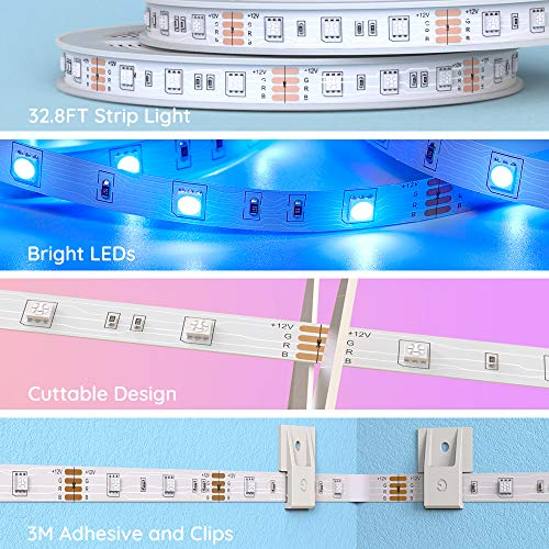Govee Led Strip Lights 32.8 Feet, for Bedroom, App Control, Works with Alexa Google Assistant 7