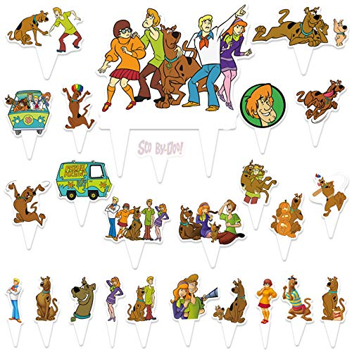 25Pcs Scoob_y Doo Cake Toppers Cupcake Toppers Happy Birthday Party Supplies Cake Decorations for Kids
