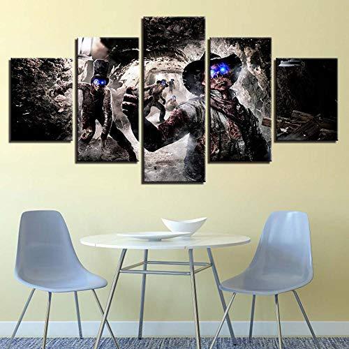 Chuixiaoxiao1 Stampe su Tela Moderne 5 Pezzi Wall Art Diavolo con Gli Occhi Azzurri Decorazione Domestica Pittura Stampata su Tela per Camera da Letto Soggiorno Bagno Ufficio Decorazione della casa