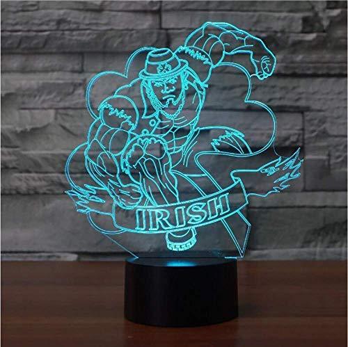 Creativo 3D Visual Led Irish Man Modelling Light Fixture USB 7 Lampada da tavolo colorata Comodino Fashion Sleep Night Light Regali Decor