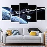 lijuan store Décoration de Chambre d'enfant Peinture 5 Panneaux avec Cadre Toile Peinture Salon Chambre Peinture Murale 75 CM Star Trek Aviation Chambre UFO Paysage