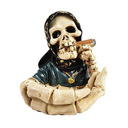 WLP-WF Cenicero Del Cigarro, Creativo Ceniceros con el Cráneo Hombre Fresco Decoración, Resina de Halloween de Cigarrillos Cenicero de Soporte, Decoración Cenicero Regalo para el Padre Del Novio Seño