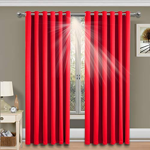 Imperial Rooms Red Blackout Eyelet Curtains 90 x 72 Inches Pair Panels Thermal Insulated Window Curtains Room Darkening