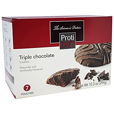 ProtiDiet - Triple Chocolate Diet Cookies | Low Calorie, Reduced Fat, 15g of Protein (7 Pouches, 294g)