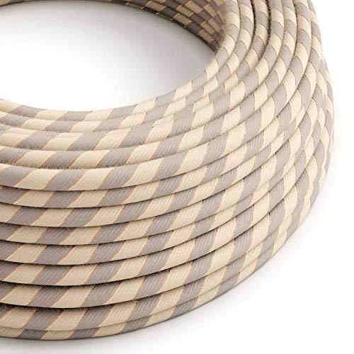 creative cables Rundes, Vertigo-Textilkabel aus Baumwolle und Leinen mit Kupferfaden ERR05-50 Meter, 3x0.75