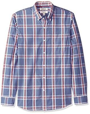Goodthreads Men's Slim-Fit Long-Sleeve Plaid Poplin Shirt with Button-Down Collar