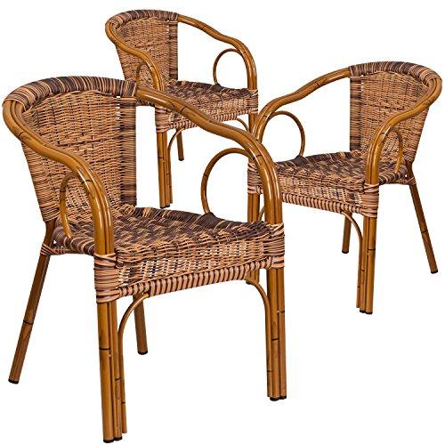 Flash Furniture 3 Pk. Cadiz Series Burning Brown Rattan Restaurant Patio Chair with Dark Red Bamboo-Aluminum Frame