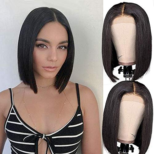 Lace Front Human Hair BoB Wigs Brazilian Human Hair Short BoB Wigs For Black Woman 4×4 Pre-plucked Straight BoB Lace Closure Wigs (12 Inch)