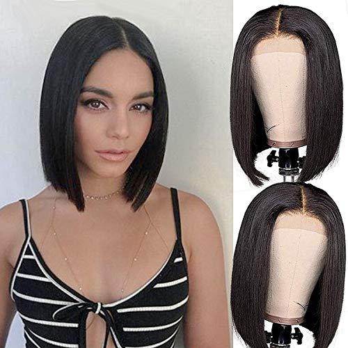 Lace Front Human Hair BoB Wigs Brazilian Human Hair Short BoB Wigs For Black Woman 4×4 Pre-plucked Straight BoB Lace Closure Wigs (12 Inch)
