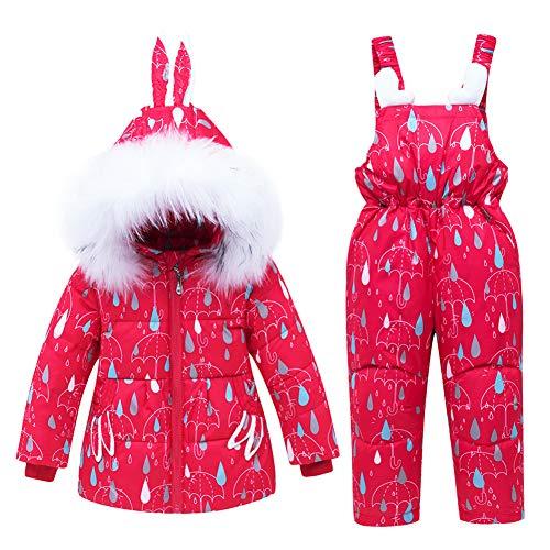 SXSHUN Bébes Niñas Traje de Nieve de Plumas Set de 2 Piezas Chaqueta con Capucha de Conejo + Peto Conjunto Caliente para Invierno