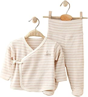 COBROO Baby Pajama Set 0-6 Months 100% Cotton Essential Baby Footed Pants and Long Sleeve Kimono Shirt with Mitten Cuffs