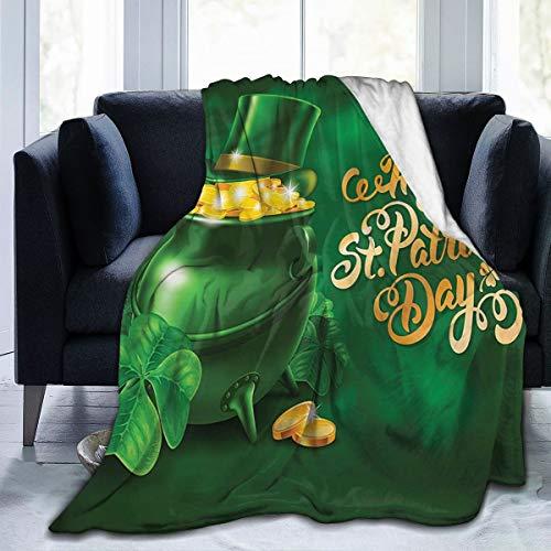 SURERUIM Soft Fleece Überwurfdecke,Irischer Topf des Goldes,Home Hotel Bed Couch Sofa Überwurfdecken für Paare Kinder Erwachsene,75x125cm