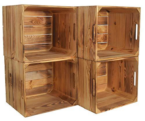 CHICCIE 4 Set Kallax Holzkiste Karl - Aufbewahrungsbox Geflammt 33x38x33cm Aufbewahrungskorb Holzbox Holz Regal