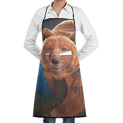 Kitchen Bib Apron Neck Waist Tie Center Kangaroo Pocket Bear Art Paint Waterproof