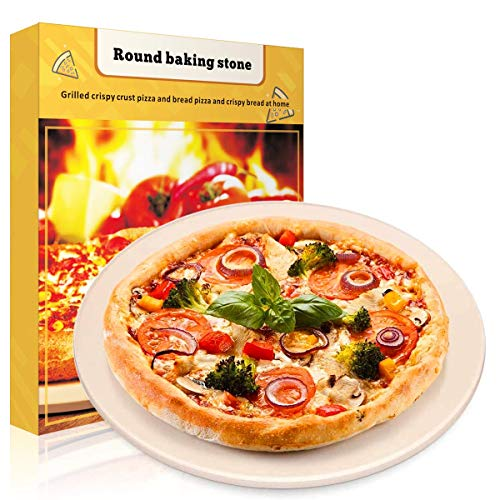 """Pizza Stone, Round Pizza Stone for Grill and Oven, Making Pizza, Steak, BBQ, 0.23"""" Thick inch Cordierite Pizza Pan,Cooking & Baking Stone,Durable Certified Safe and Heated Evenly (10.23"""" x 10.23"""")"""