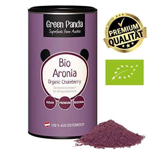 Bio Aronia Pulver aus österreichischem Anbau, getrocknet und extra fein gemahlene Aronia Beeren bio ohne jegliche Zusätze, regionale Alternative zum Acai Pulver von Green Panda (185g Dose)