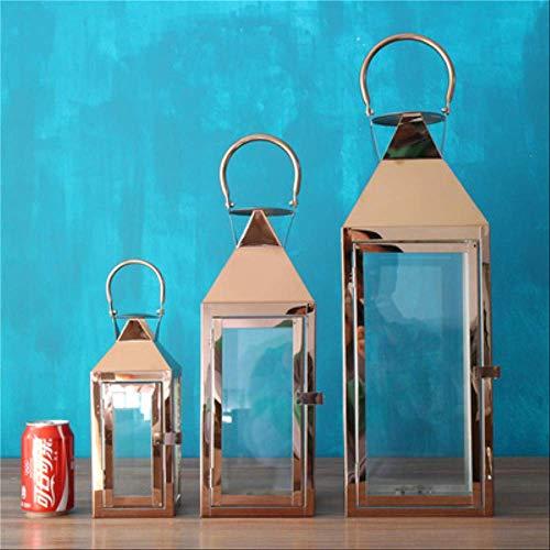 SEHBDY Candelero Acero Inoxidable Piso-a-Techo Luz De Viento Soporte De Velas Hotel Villa Al Aire Libre Decoraciones De Boda ABC Rose Gold Set