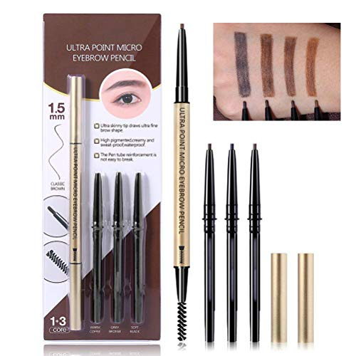 Ensemble de crayons de maquillage pour les sourcils 4 en 1, pointe ultra fine et fine à deux extrémités Kit de stylo automatique mécanique pour les sourcils de remplissage et de forme précis pour