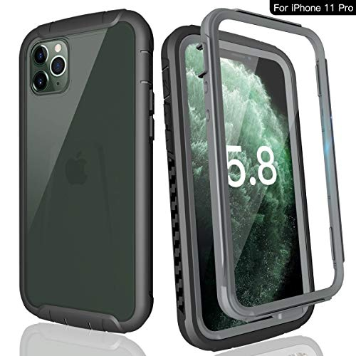 momots iPhone 11 Pro Case, Full-Body Protection Rugged Bumper Cover with Built-in Screen Protector an-ti Scratches 360° Protection Shockpoof Case with Clear Sound for iPhone 11 Pro (5.8 inch Black)
