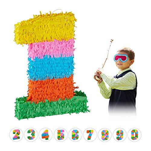 Relaxdays 10025189_903 Pinata Geburtstag, Zahl 1, zum Aufhängen, Kinder & Erwachsene, Papier, zum selbst Befüllen, Piñata, bunt