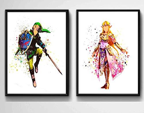 Zelda and Link, Gamer Inspired Wall Art, Princess Zelda, Kids Room Decor, Kids Wall Art, 2-Piece set, Unframed, Printed on Archival Matte Premium Photo Paper