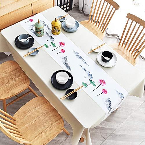 Yinaa Mantel de Mesa con Efecto Loto Lavable Resistente Al Desgaste Anti Escaldado Impermeable Resistente a La Suciedad Resistente Blanco 90×140cm