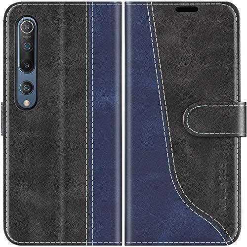 Mulbess Handyhülle für Xiaomi Mi 10 Pro Hülle Leder, Xiaomi Mi 10 Pro Handy Hülle, Modisch Flip Handytasche Schutzhülle für Xiaomi Mi 10 / Mi 10 Pro, Schwarz