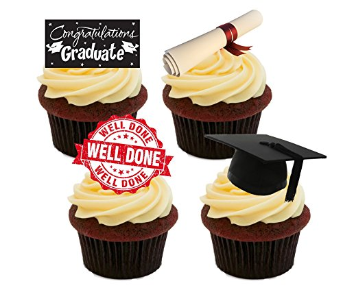 Afstuderen, Goed gedaan/Gefeliciteerd, Edible Cake Decorations - Stand-up Wafer Cupcake Toppers