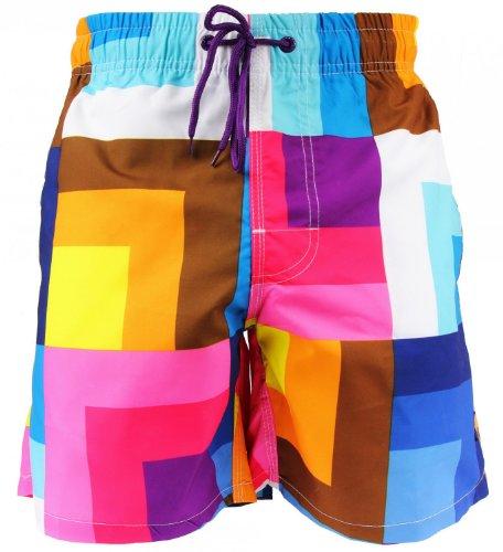 Shiwi® Badeshorts Boardshorts Strandshorts Shorts Badehose gelb weiß rot blau braun Größen S M L XL XXL, Grösse:S - 4-48;Farbe:Mehrfarbig