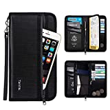 Family Passport Holder RFID Travel Wallet Waterproof & Fireproof Tickets Itinerary Document Organizer